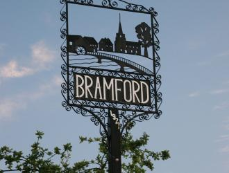 Decorative village sign for Bramford