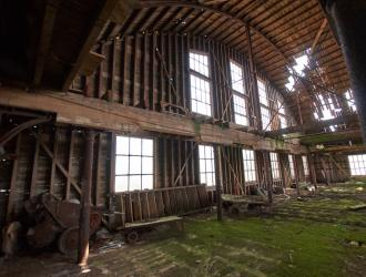 Interior of listed wooden warehouse on Old Fison's site
